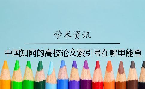 中国知网的高校论文索引号在哪里能查询